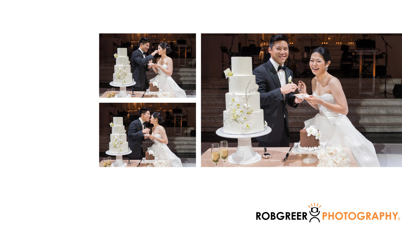 Playful Cake Cutting During Vibiana Reception