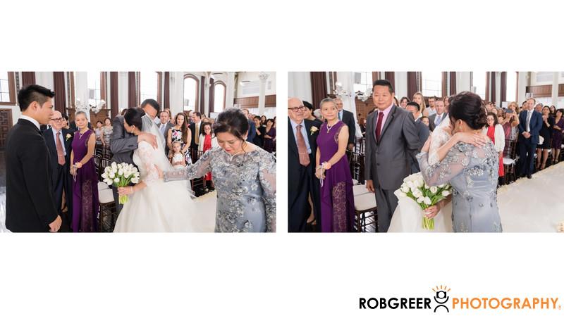 Parents Give Bride Away at Vibiana Wedding