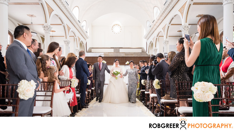 Bride Escorted Down Aisle by Mother & Father at Vibiana