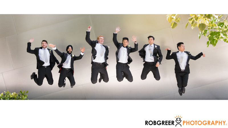 Jumping Groom & Groomsmen at Walt Disney Concert Hall
