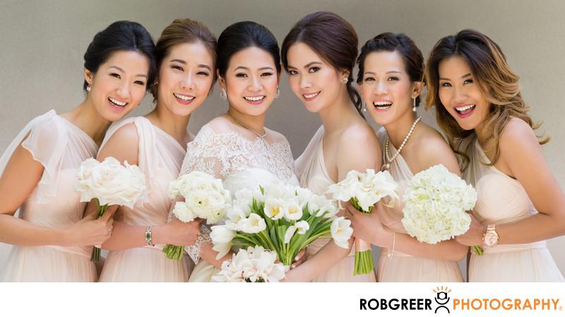 Smiling Bridesmaids Portrait at Disney Hall
