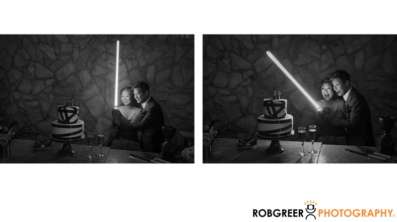 Couple Cuts Wedding Cake with Star Wars Light Saber