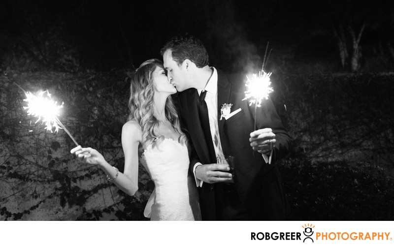 Bride & Groom Celebrate Wedding with Sparklers
