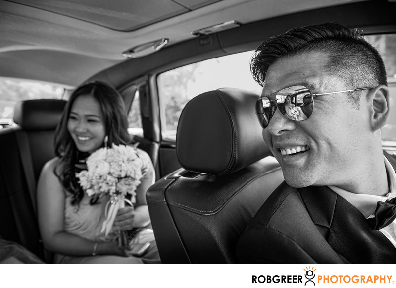 Bride Reflected in Driver's Sunglasses at Langham