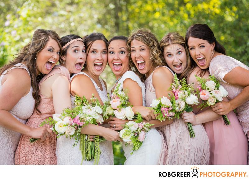 Fun Photo of Bride & Bridesmaids at South Coast Botanic