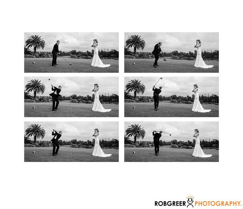 Groom Plays Golf for Bride at Riviera Country Club