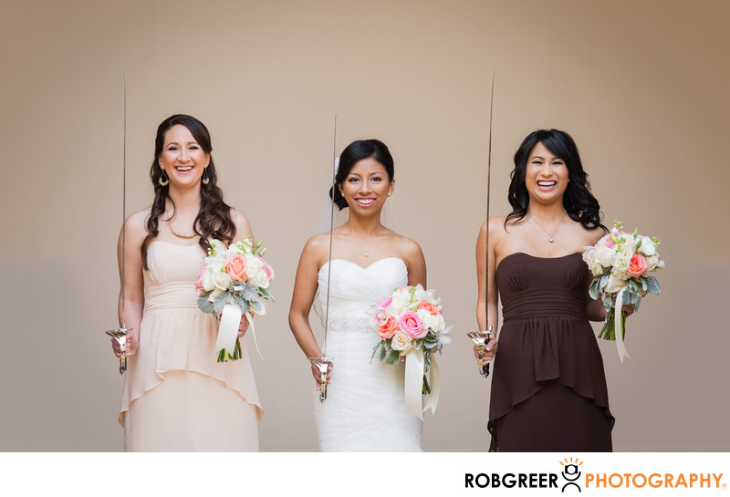 Bride & Bridesmaids with Military Swords and Bouquets