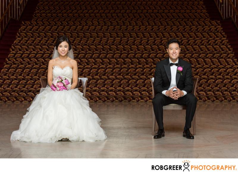 Bride & Groom Sitting at Legendary Park Plaza Wedding