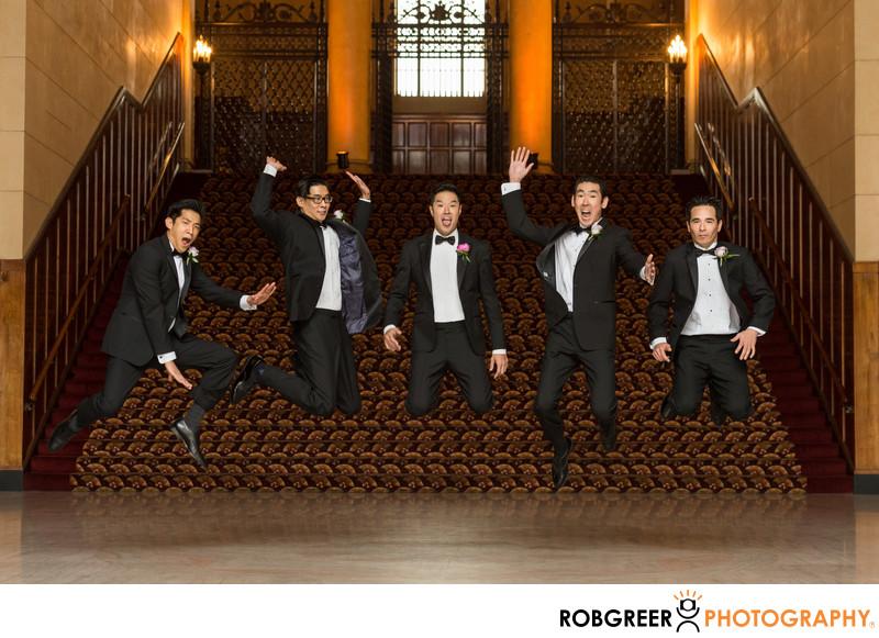 Groomsmen Jumping at Legendary Park Plaza Wedding