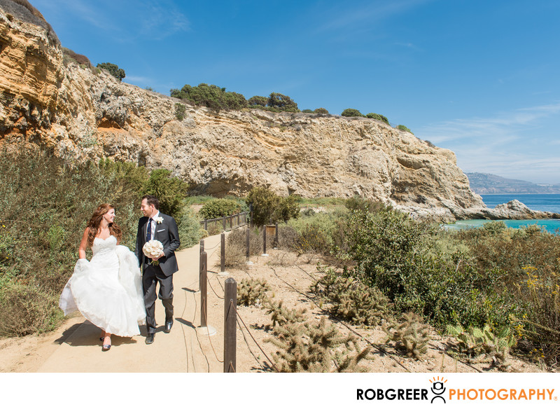 Walking on Path at Terranea Resort Wedding