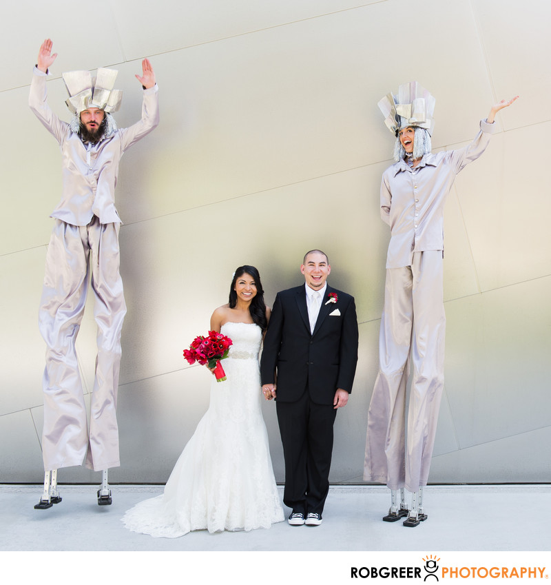 Couple with Stilt Walkers at Walt Disney Concert Hall