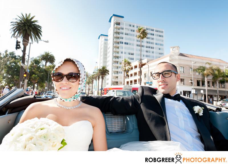 Santa Monica Beach Bride & Groom in Convertible at Pier