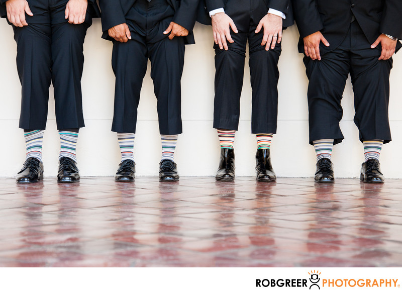 Wedding Groomsmen Sock Detail at Pasadena City Hall