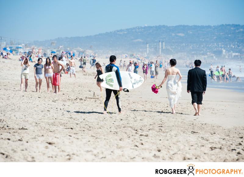 Crowds at Manhattan Beach Pier Wedding