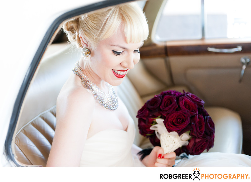Hilton Pasadena Vintage Bride Limo Ride to Wedding