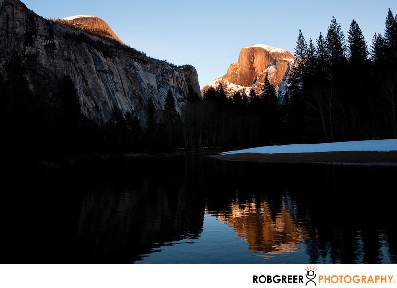 Snowy Half Dome Merced River Reflection in Yosemite