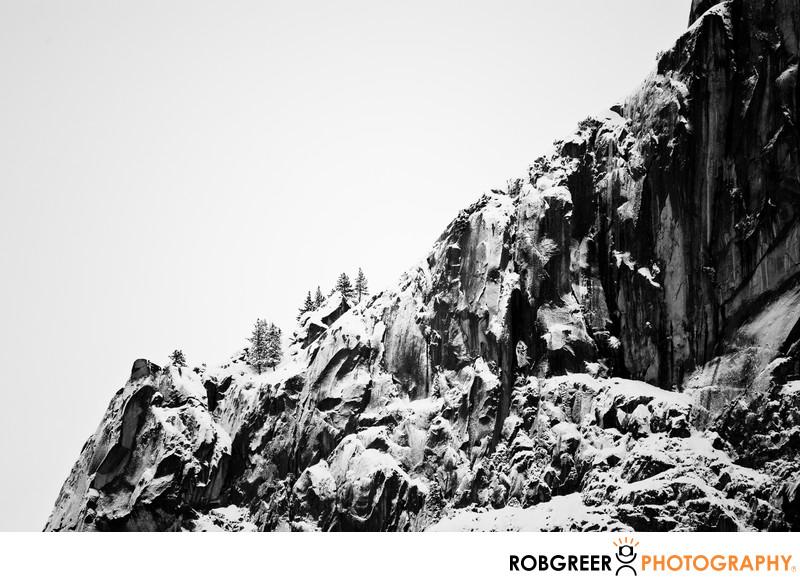 Jagged Downward Mountain Winter Slope in Yosemite