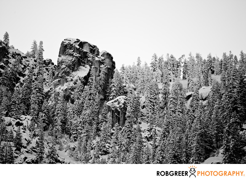 Winter Study of Huge Mountain Boulder in Yosemite