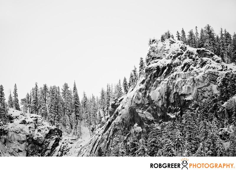 Oblique View of Sentinel Falls Origin in Winter