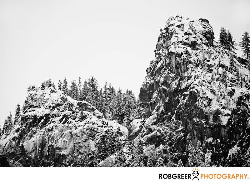 Jagged Mountain Pass with Snowy Trees in Yosemite