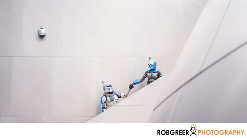 Bo-Katan & Rex Ascend Steps at Walt Disney Concert Hall