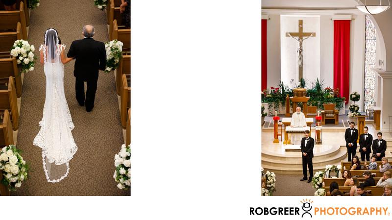 Bride Walks Down Aisle at Church of the Good Shepherd
