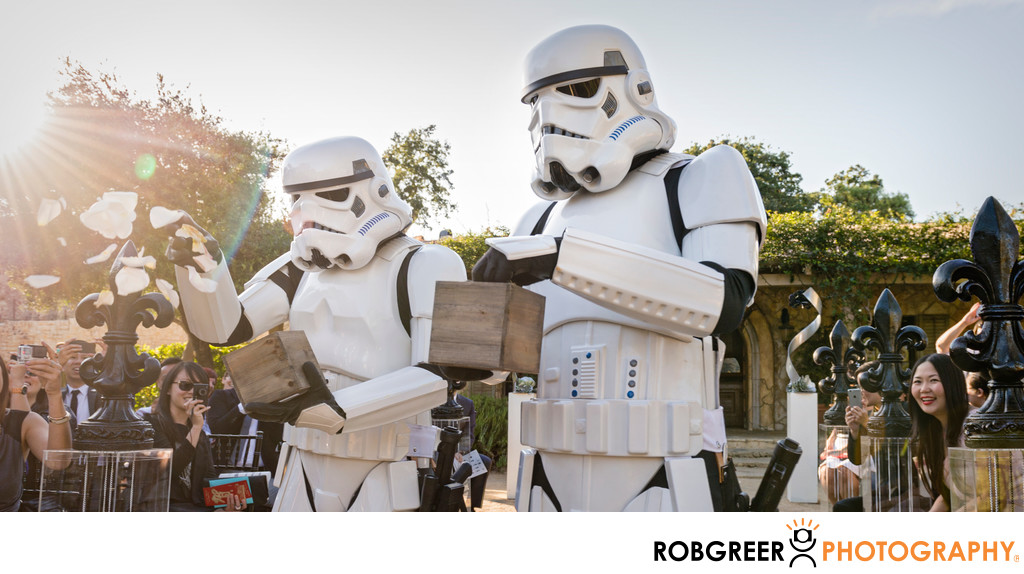 Stormtroopers Shower Flower Petals At Sunstone Wedding