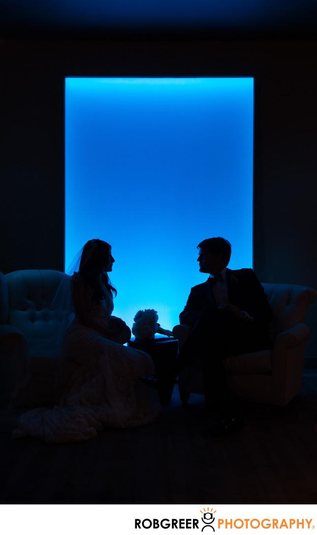 Blue Backlight Silhouette of Bride & Groom at SLS Hotel