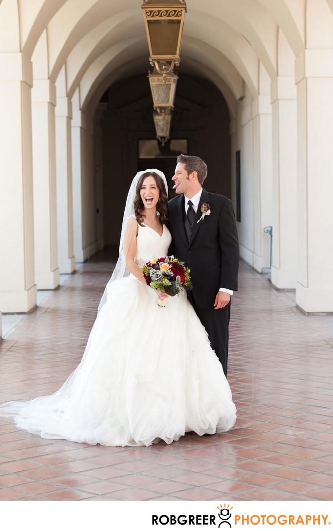 Fun Wedding Photo of Quirky Groom at Pasadena City Hall