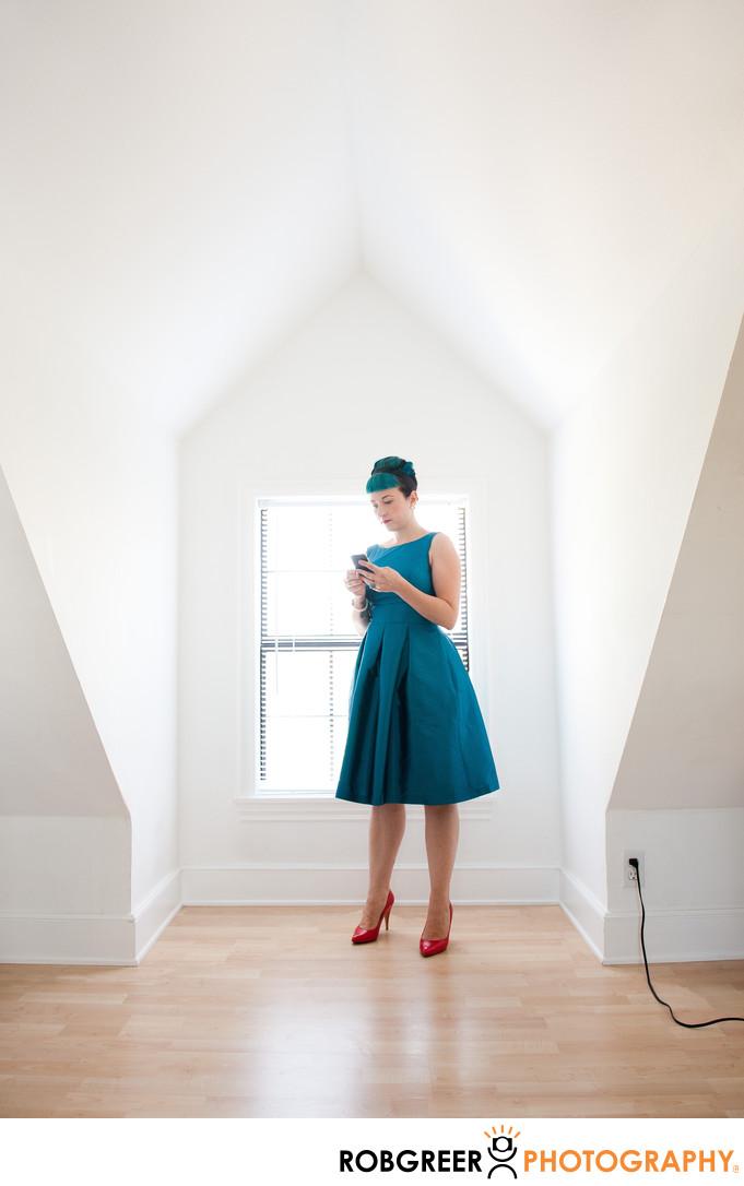 Bridesmaid Checks Phone before Stone Manor Wedding