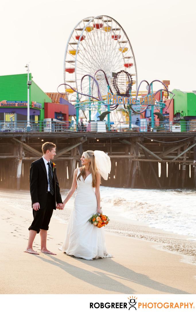 Santa Monica Beach Pier Bride & Groom