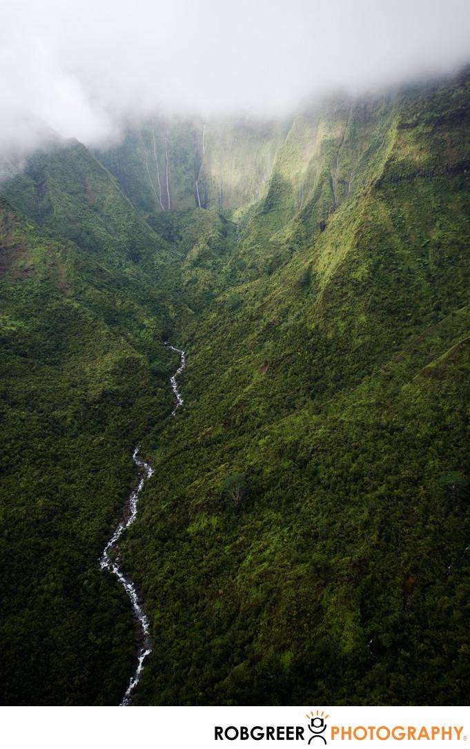 Aerial View of Jungle Canyon in Kauai