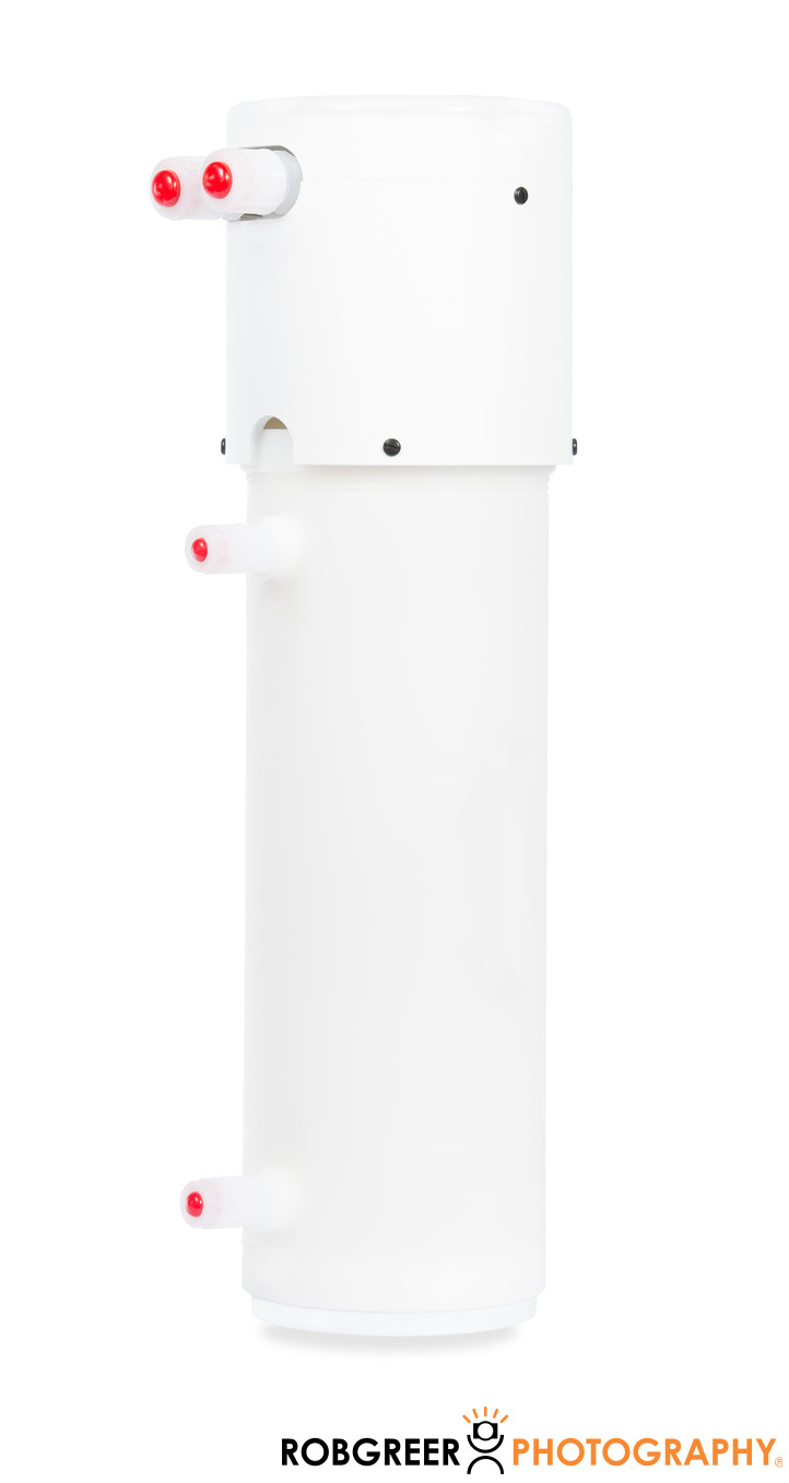 White Industrial Water Pump on White Background