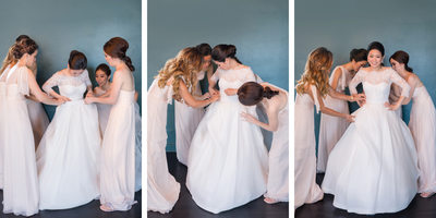 Bridesmaids Help Bride Get Dressed for Vibiana Wedding