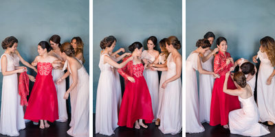 Bridesmaids Help Bride Dress in Traditional Chinese Garb