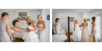 Mother and Bridesmaids Help with The Dress