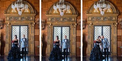 Triptych of Malibu Bride and Groom at Villa Del Leon