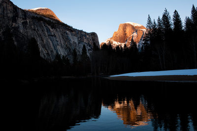 Snowy Half Dome Merced River Reflection in Yosemite
