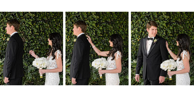 Wedding Couple First Look Tryptych at SLS Hotel