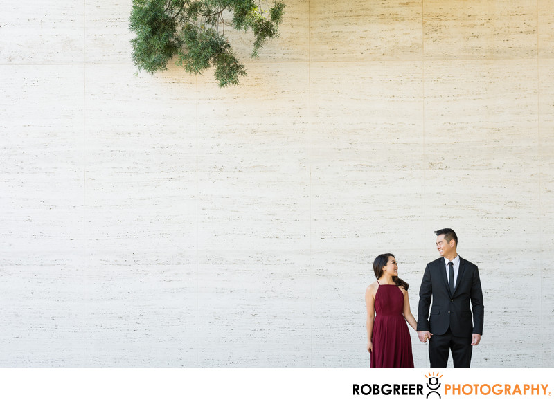 Negative Space around Engaged Couple at LA Arboretum