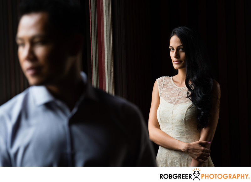Dramatic Portrait of Couple at LA Engagement Session