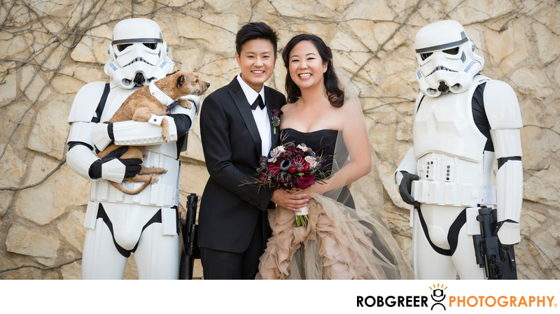 Family Pet Not Happy with Stormtrooper at Wedding