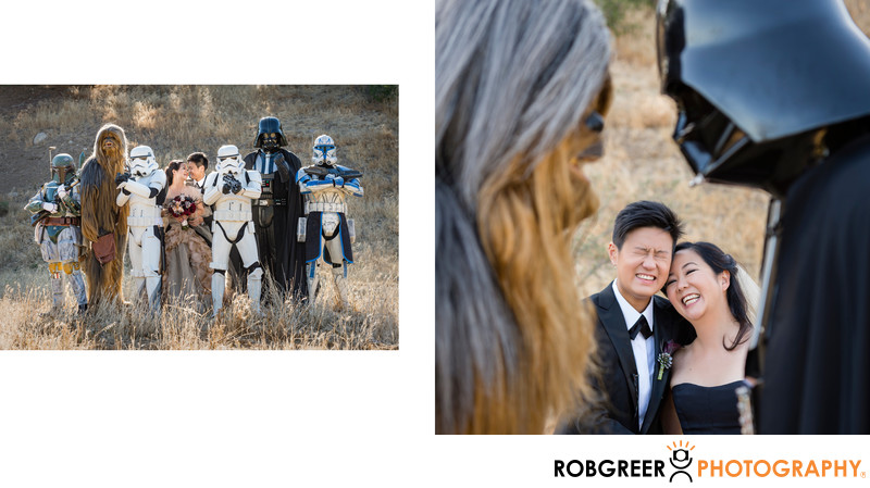 Chewbacca & Darth Vader with Laughing Couple
