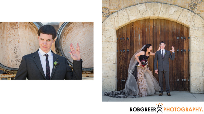 Quirky Star Trek Wedding Portrait Live Long & Prosper