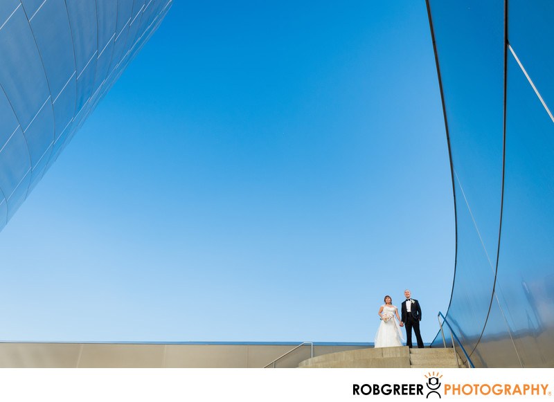 Spectacular Disney Hall Wedding Couple against Skyline