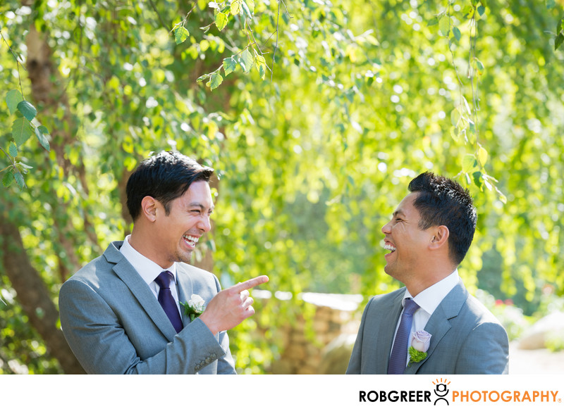 Groom & Groomsman Laughing at Descanso Gardens