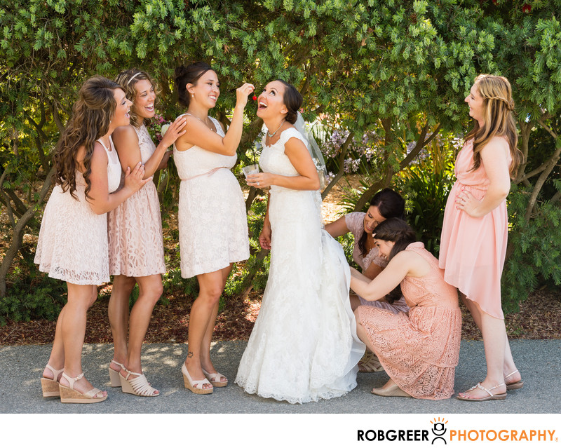 Quirky Photo with Bridesmaids Bustling Wedding Dress