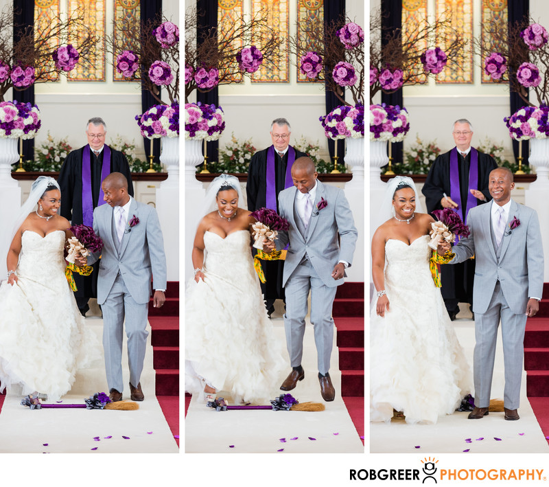 Jumping The Broom At Trinity Church Of Santa Monica Los Angeles Wedding Photographs Top