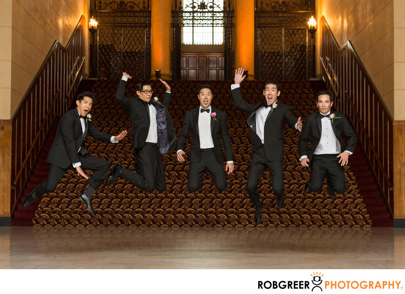 Groomsmen Jumping at Legendary Park Plaza Wedding