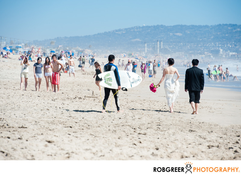 Crowds at Manhattan Beach Pier Wedding